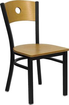 HERCULES Series Black Circle Back Metal Restaurant Chair with Natural Wood Back & Seat XU-DG-6F2B-CIR-NATW-GG by Flash Furniture