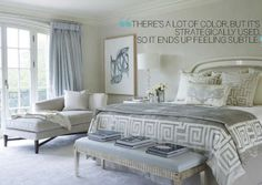 Splendid Sass. Serene master bedroom off white with soft blue and grey tones