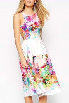 Floral Sleeveless A Line Midi Dress