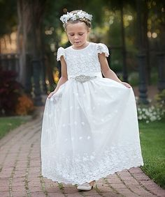 55df88fa978 Think Pink Bows White Sash-Waist Kate Gown - Toddler   Girls