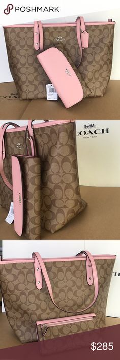 ⭐️💕coach Tote set💕shoulder bag khaki/blush Both bag and wallet authentic brand new with tags silver hard wear. One size city zip tote 15x11x5. Wallet has check book cover. Khaki blush color Coach Bags Totes