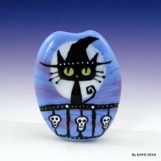 """THE SWEETEST WITCH EVER"" byKAYO a Handmade CAT Lampwork Glass Focal Bead SRA #Lampwork"