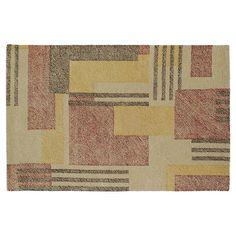 Kaleen Montage Modern Block Geometric Wool Rug, Beig/Green (Beig/Khaki)