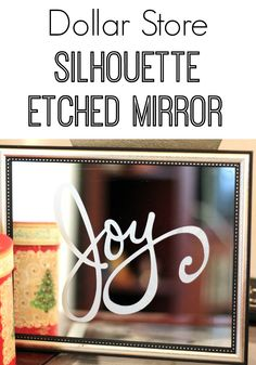 This Dollar Store Silhouette Etched Mirror is much easier than it looks! You will have a super looking Christmas mirror in no time!