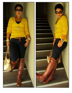 Discover this look wearing Yellow American Eagle Sweaters, Burnt Orange Lulus Boots, Navy Forever 21 Jeans - They Call Me Mellow Yellow by mimig styled for Casual, Shopping in the Fall Classy Outfits, Stylish Outfits, Fashion Outfits, Womens Fashion, Fashion Trends, Fashion Hats, Fashion Sewing, Weekend Outfit, Weekend Wear
