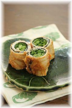 ネギ海苔の味噌ロール