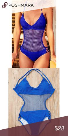 JUST ARRIVED NEW! Sexy Halter Neck Blue Mesh Design Hollow Out One-Piece Swimwear  runs small Swim One Pieces