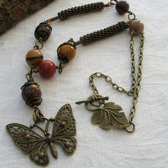 ONE DAY SALE Mookaite Necklace with Wirework and Butterfly Pendant £9.95