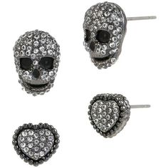Betsey Johnson Crystal Pave Heart and Skull Stud Earring Set ($35) ❤ liked on Polyvore featuring jewelry, earrings, black, betsey johnson earrings, black skull earrings, crystal earrings, heart earrings e black earrings