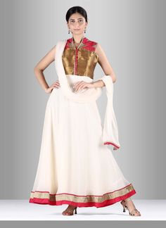 Authentic beauty can come out out of your dressing style with this pure georgette anarkali suit. The kasab work, resham work and silk border patch work appears to be like chic and great for festival, ...