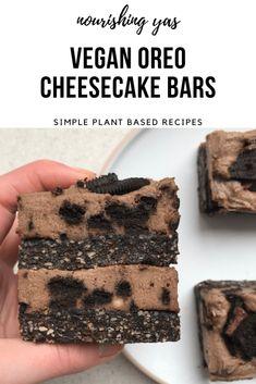 Vegan Oreo Cheesecake Bars | Nourishing Yas - Simple Plant based Recipes  #veganrecipes #veganfood #vegandesserts #vegancheesecake #nobakedesserts #oreorecipes #oreocheesecake #dairyfreerecipes #plantbaseddesserts