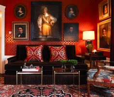 art arrangement is cool - Darin Geise--his San Fran home-another view of this red sitting room - 12/29/12
