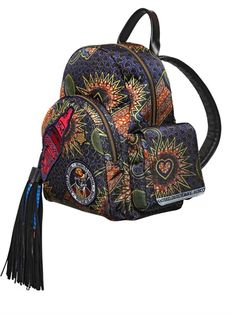 PRINTED NYLON BACKPACK WITH LEATHER TRIM
