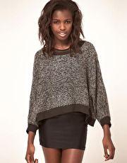 slouchy grey marl & dark chocolate short jumper