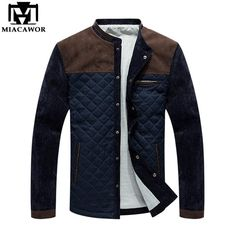 pipigo Mens Winter Full-Zip Embroidery Thicken Relaxed Fit Down Quilted Coat Jacket Outerwear