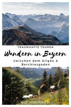 Wandern in Bayern sorgt für ein wahres Hochgefühl - doch wo ist es besonders schön und wenig überlaufen? Zwischen dem Allgäu und Berchtesgaden - ich habe für dich besondere Wanderwege zusammengestellt, wo du noch in aller Ruhe das wunderschöne Bergpanorama genießen kannst. #wanderndeutschland #wandernbayern #alpen #wandernallgäu #wandernberchtesgaden #wandernzugspitze #zugspitze Camping And Hiking, Hiking Trails, Camping In Deutschland, Europe Destinations, Outdoor Life, Bavaria, Germany Travel, Us Travel, Day Trips