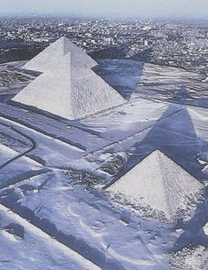 Pyramids covered in snow...hadn't happened in over 100 years, until now.