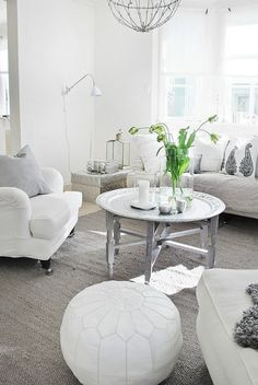 Furniture - Living Room : House of Philia - Decor Object House Of Philia, Modern Moroccan Decor, Moroccan Interiors, White Interiors, Moroccan Table, Moroccan Pouffe, Decoration Gris, Decoration Inspiration, Design Inspiration