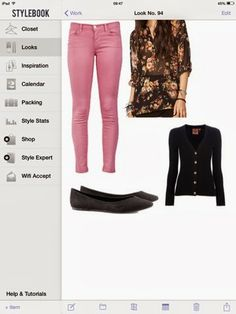 What to wear with flowered blouse: pink jeans, black flats and black cardigan.