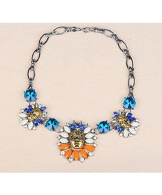 High Quality Luxurious Colourful Gem Crystal Face Flower Vintage Alloy Necklaces & Pendants