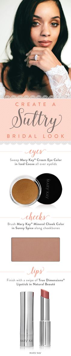 Makeup artist Moani Lee puts a spin on the classic smoky eye to create a sultry bridal look with a swipe of Mary Kay® Cream Eye Color in Iced Cocoa.