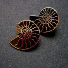 Ammonite enamel pin  lapel pin with St Hilda of by milkandmoonuk