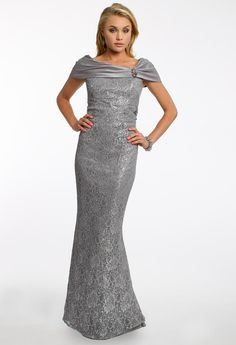 METALLIC LACE DRESS WITH TRUMPET SKIRT #camillelavie #groupusa #lace #grey #longdress