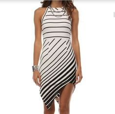 NWTAsymmetrical Striped Dress Dress by Tea and Cup, Black & White. 96% Polyester. 4% Spandex. Tea n Cup Dresses Asymmetrical