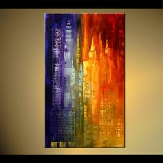 Original abstract art paintings by Osnat - new york skyscrapers abstract painting
