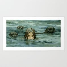 The Selkie Framed Art Print by Jessica Shirley Pagan Witch, Merfolk, Canvas Prints, Art Prints, Mythical Creatures, Fantasy Creatures, Sea Creatures, Elder Scrolls, Fantasy Art