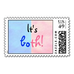 It's both, pink and blue twins announcement stamps