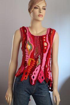 Sunset in Malibu - Freeform Crochet Vest  - Top - Tunic -Wearable Art - OOAK