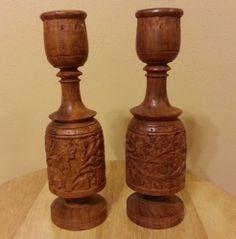 2 Vintage Wood Wooden Hand-carved carved Floral Candleholder Candle Holder AI-6 #Handmade