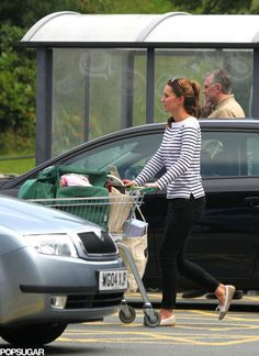 Duchess Catherine 8/26/13  shopping in Anglesey, Ralph Lauren Tori striped tee, Paige Denim Skyline skinny jeans.