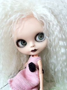 Custom Blythe Doll OOAK named Luna Pearl by EmmyBlythe  Gorgeous premium platinum blond Alpaca reroot!