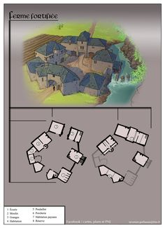 Foto: A fortified farm ! Fantasy City, Fantasy Castle, Fantasy Map, Medieval Fantasy, Fantasy World, Ouvrages D'art, Rpg Map, Pen & Paper, Building Map