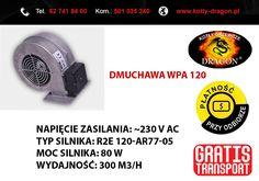 Dmuchawa WPa 120  Wentylator WPa 120 przeznaczony jest do nadmuchu powietrza do paleniska kotłów c.o.  Charakterystyka: -waga: 2,3 kg -zastosowanie: kotły nadmuchowe małej i średniej mocy  Kupując u nas, kupujesz BEZPOŚREDNIO !!! u producenta  tel./fax: 62 741 84 60 kom. 501 035 240  e-mail: biuro@kotly-dragon.pl e-mail: handlowy@kotly-dragon.pl  Aukcje: http://allegro.pl/listing/user/listing.php?us_id=34032782  #kocioł #kotły #piec #piece #ogrzewanie #dom #dmuchawa