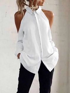 Casual Off-Shoulder Turndown Collar Splicing Pure Colour Blouse Latest Fashion Clothes, Diy Fashion, Fashion Hacks, Shoulder Off, Textiles Y Moda, Vetement Fashion, Summer Work Outfits, Summer Wear, Fashion Seasons