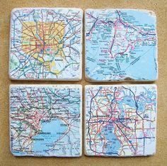 Custom Map Coasters Set Of 4 by CarolinaCottage on Etsy