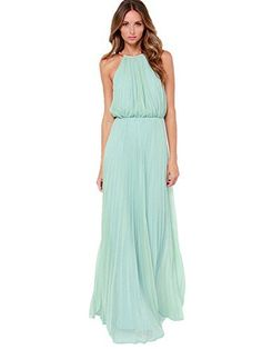 712d94505 SheIn Women s Mint Halter Sleeveless Pleated Maxi Dress(M