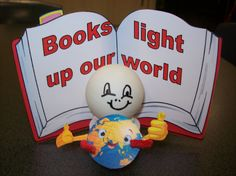 Books light up our World craft. Ping pong ball on led candle to make a person. Pipe cleaner arms to hold the world. The book is taped to the back of the candle. Lights up great!