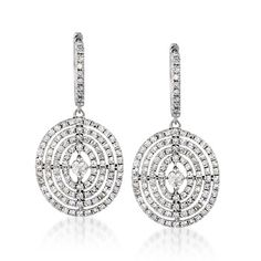 Ross-Simons 2.15ctw Diamond Drop Earrings - 14kt White Gold - (somewhat Art Deco-ish)