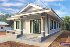 Affordable three-bedroom bungalow - Ulric Home White Wall Paint, One Storey House, Adams Homes, Off White Walls, Three Bedroom House, Wardrobe Design Bedroom, Stone Cladding, Bungalow House Design, Dark Interiors