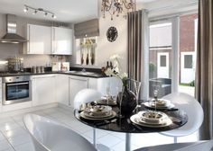 David Wilson Homes   Newport. Interior Designed White Gloss Kitchen With  Dining Area, Using