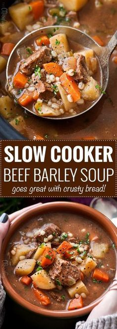 Slow Cooker Beef Barley Soup Hearty And Positively Soul-Warming, This Beef Barley Soup Simmers All Day In The Slow Cooker, Which Makes For An Incredibly Rich Soup Recipe The Chunky Chef Crock Pot Recipes, Healthy Crockpot Recipes, Slow Cooker Recipes, Beef Recipes, Cooking Recipes, Chicken Recipes, Hearty Soup Recipes, Crockpot Ideas, Kitchen Recipes