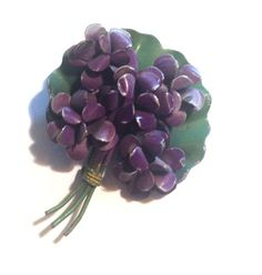 Violets for Your Furs Painted Metal Brooch circa 1940s - Dorothea's Closet Vintage