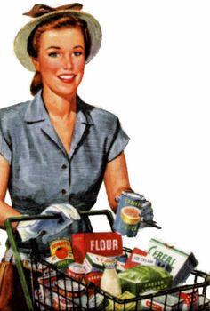 retro grocery shopper he he, I dare anyone to go grocery shopping wearing a hat, gloves and heels! 1950s Housewife, Vintage Housewife, Housewife Meme, Nostalgia, Pin Up, Retro Images, Vintage Images, Golf Humor, Price Book