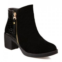 Stylish Suede and Snake Print Design Women's Boots, BLACK, 39 in Boots   DressLily.com