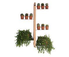 Portavasi sospeso in faggio Zia Flora naturale - 42x66x18 cm