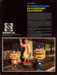 """McDonaldland Setmakers Promo packet - Cover - a great piece of vintage McDonalds literature, Jason shares an announcement for the McDonaldland Playground Equipment to come. This """"Playground. Mcdonald Menu, Ronald Mcdonald, Modern Playground, Everything Is Awesome, Plan Design, Back In The Day, Mcdonalds, American History, Childhood Memories"""